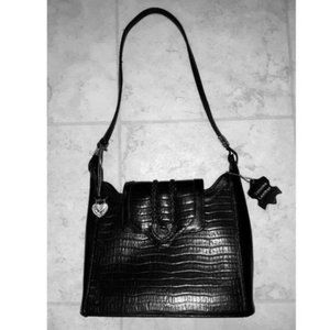 Vintage Black Real Leather Western Handbag Purse